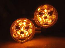 Chrome/Red Motorcycle 3D Skull Skeleton LED Turn Signal Light Custom Parts