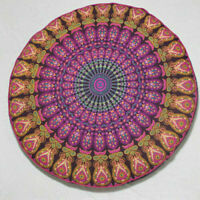 Indian 35'' Round Pillow Cover Patchwork Floor Ottoman Pouffe Hand Embroidered