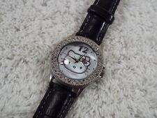 Ladies SANRIO Hello Kitty Rhinestone Mother of Pearl Black Band Watch (D40)