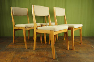 4x Vintage Chairs Danish Retro Dining Room Chair Set mid-Century Wood Beech 60er