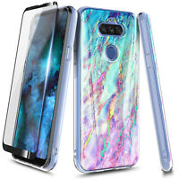 For LG K8x/Fortune 3/Risio 4 Phone Case, Marble Cover + Tempered Glass Protector