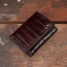 Brown Eel Trifold Wallet Amish Hand Made from Genuine Eel Skin Tri Fold