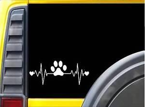 Dog Rescue Lifeline K259 8 Inch paw heartbeat decal