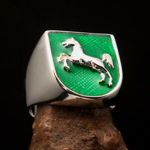 Shield shaped Lower Saxony Men's Seal Ring Horse on green - Sterling Silver