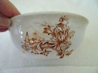 VINTAGE POTTERY CEREAL/BERRY BOWL-INSIDE RINGS-BROWN FLOWERS-OUTSIDE SCALLOPS