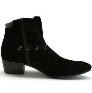 Hot Men's British Style High Top Casual Ankle Boots Cuban Heel Zip Suede Shoes