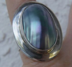 """Vintage 1 1/4"""" Mother of Pearl 0.925 STERLING SILVER JAY KING band RING SIZE 8"""