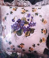 """African Violets Pillow Candlewicking Embroidery Kit 14"""" Candamar Designs 80216"""