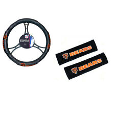 New NFL Chicago Bears Car Truck Steering Wheel Cover Seat Belt Covers Pads