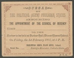 Political Agent Durbar PHULKIAN STATES 1901 invite by Foreign Minister Patiala