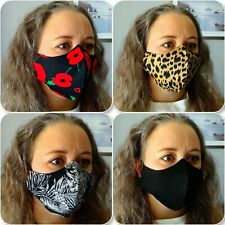 Face Mask TRIPLE Layer Cotton Shaped Reusable Washable with POCKET Adult Size