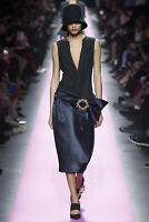 JACQUEMUS deep v neck drop waist satin brooch La Robe Taille Basse dress 36 NEW