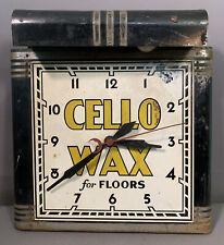 Antique Art Deco Era Cello Floor Wax Old Tin Litho Advertising Sign Clock Light