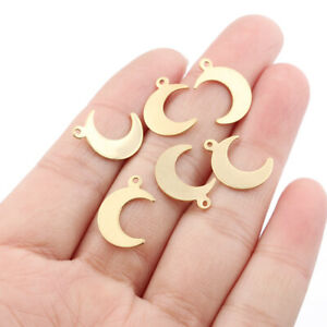 100Pcs Raw Brass Crescent Moon Charms Pendants for Jewellery Making 11*16mm