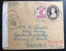 1943 India Civil Censorship Stationery Cover To  Toronto Canada