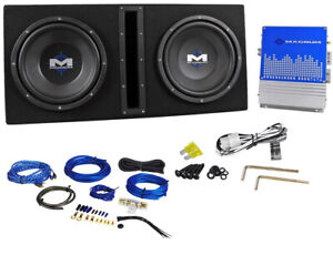 """MTX Magnum MB210SP 800w Dual 10"""" Subwoofers+Vented Sub Box/Amp Package+Amp Kit"""