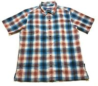 Patagonia Mens Red Blue Plaid Front Pocket Button Front Shirt Size Medium