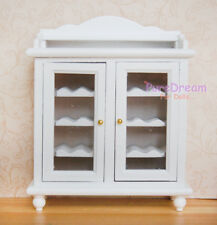 Dollhouse Furniture White Wine Cabinet Buffet Hutch Wooden Without Bottles