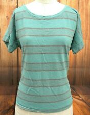 The North Face Sz XL 100% Cotton Teal Green Striped Womens T-Shirt