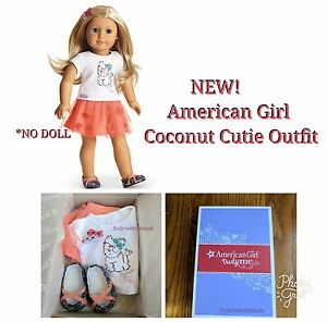 American Girl Coconut Cutie Outfit COMPLETE SET Orange Skirt Shoes Barrettes NEW