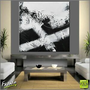 Miminalist Black White Abstract Painting Textured Canvas 100cm x 100cm Franko