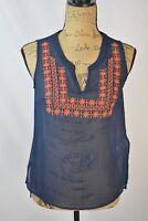 Lucky Brand - Blue SHEER orange embroidered sleeveless tunic blouse, size XS