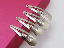 100 Silver Snap Hair Clips 31mm Baby Bows Girls Hair Bows