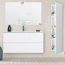 Mobile bagno 100 cm sospeso bianco laccato con 2 cassetti colonna e specchio