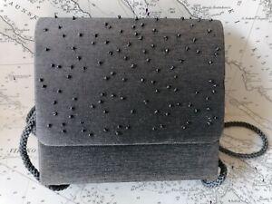Small Grey Beaded Shoulder Evening Bag Clutch