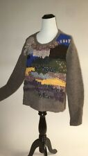 "NWT SZ L ANTHROPOLOGIE FRINGED COLLAGE PULLOVER SWEATER BY ""HANDKNIT BY DOLLIE"""