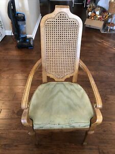 HERITAGE FURNITURE Italian Neoclassical Tuscan Style Cane Back Dining Arm Chair