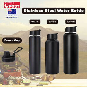 Double Wall Stainless Steel Water Bottle Vacuum Insulated Black Thermos Flask