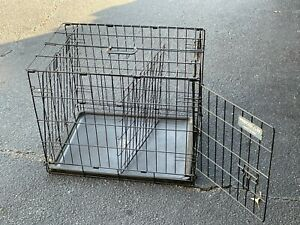 Precision 24 Inch Dog Crate Folding Kennel Metal Pet Cage With Tray, Black