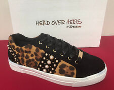 DUNE Ellery Leopard Emellish Jewel Trim Lace Up Flats Pumps Trainer