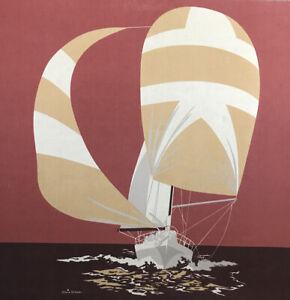 "Vintage 1977 Silkscreen Fabric Art Work Gloria Eriksen Sailboats 36""x36"" Square"