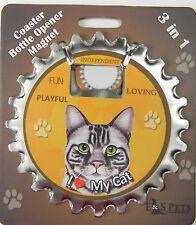 Silver Tabby Cat Coaster magnet bottle opener Bottle Ninjas
