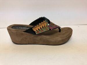 Azura Women's Headress, Wedge Slide Sandal-Brown, Size EUR 38, US 7.5-8 M.