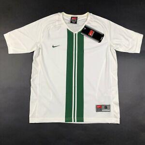NEW Nike T Shirt Youth Boys S (10-12) White Green Striped V Neck Dri Fit Dry