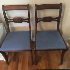 Set of Wood Dining Room Chairs with Blue Suede Seats