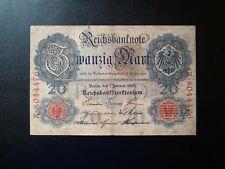 ▄▀▄ Reichsbanknote Zwanzig Mark 7.2.1908 - Banknote 20 Mark - Deutschland ▄▀▄