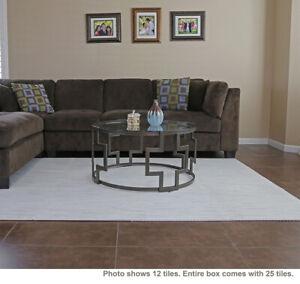"Clevr 100 SqFt 3/8"" White Wood Grain Foam Mat Interlocking Flooring 2'X2' 25pcs"