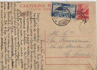 1948 2L POSTA AEREA SU INTERO POSTALE 10L DEMOCRATICA DA VARESE X LA SPEZIA