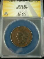 1832 Coronet Head Large Cent ANACS VF 20 Details Lot #208 (CTZKK)