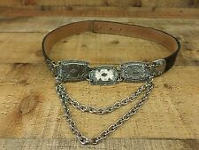 Leatherock Leather Belt Alligator Print Concho Chain Waist 7636 Black Small 28