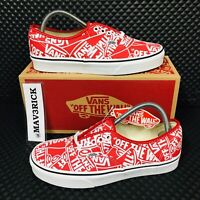 *NEW* Vans Authentic Era Signature (Men Sizes) Red White Skate Shoes Sneakers