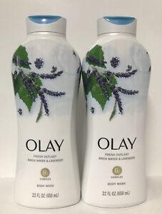 (2) Olay Fresh Outlast Birch Water & Lavender Body Wash W/ B3 Complex-22oz. Each