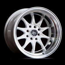 "15"" JNC 003 Wheels 15x8/15x9 4x100/4x114.3 0/0 White Machine Lip Staggered Rims"