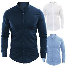 Camicia Uomo Slim Fit Coreana Bianca Blu Nera Celeste Cotone Elastico S M L XL