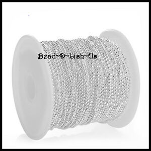 100 metre Roll 2.4mm / 1.5mm BALL CHAIN  + 200 clasp DIY Necklace  SILVER PLATED
