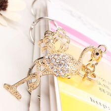 Flamingo Bird Fast Leg Lovely Charm Crystal Purse Key Ring Chain Accessories Gif